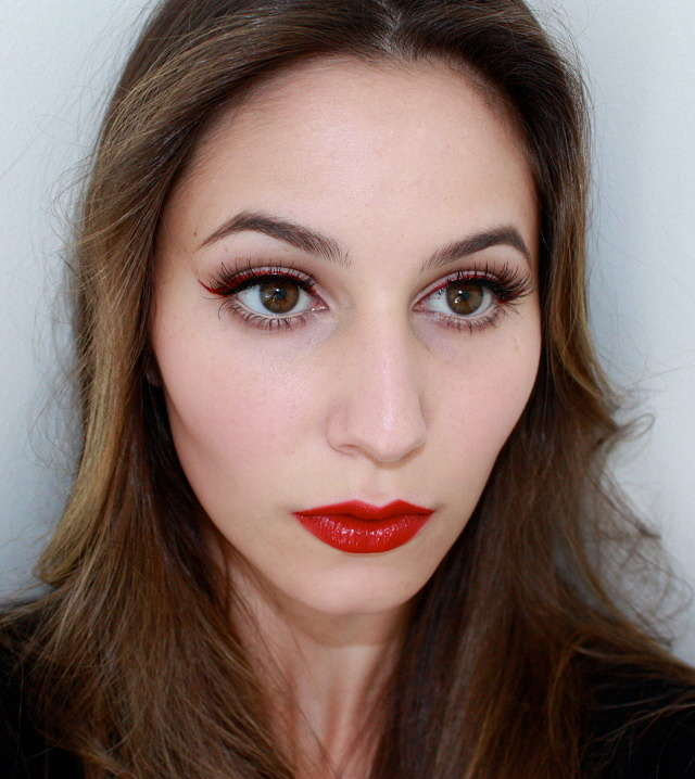 Red Eyeliner and Red Lipstick